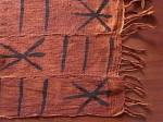 アフリカ綿手織り布  泥染めミニクロス  フリンジ付き