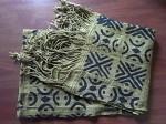 アフリカ綿手織り  泥染めロングクロス  フリンジ付き