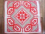 ポーランド製刺繍ミニマット 赤×生成