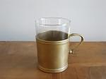 アンティーク 真鍮ホルダーガラスカップ 全2個