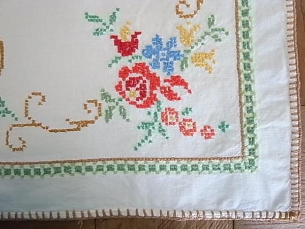 ヴィンテージテーブルクロス  コットン刺繍  ベルリン製